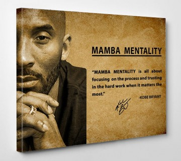 Kobe Bryant Mamba Mentality Quote Canvas Wall Art Basketball Canvas Frame canvas wall art for home decor ready to hang