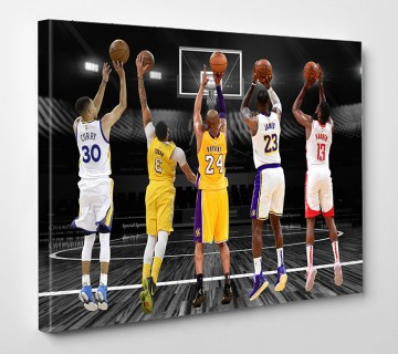 All time legends Canvas Wall Art | Kobe Bryant | James Harden | Lebron James | Stephen Curry | Anthony Davis | Man Cave Gift ready to hang