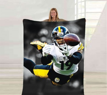 JuJu Smith-Schuster Fleece Blanket, Sports Player Blanket, ultra soft fleece blanket