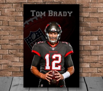 Tom Brady Poster Canvas Framed Wall Art, Sports Canvas, American Football Print, Gift For Him, Sports Room Decor, Fans Only Print