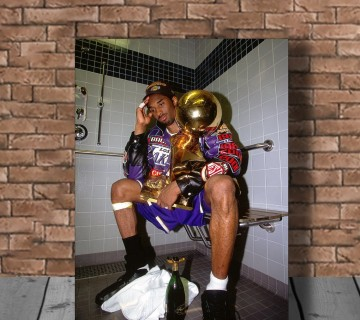 Kobe Bryant Celebration with Trophies in Bathroom Canvas Wall Art ,Basketball Canvas Frame, Canvas wall decor ready to hang