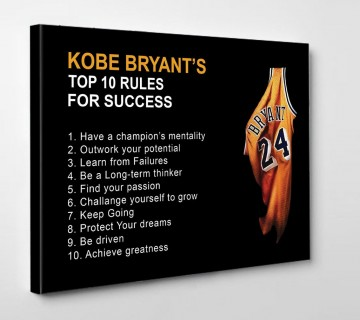 Kobe Bryant 10 Rules Mamba Mentality Motivation Quotes Canvas Wall Art Basketball Canvas Frame for Home Decor Ready to Hang