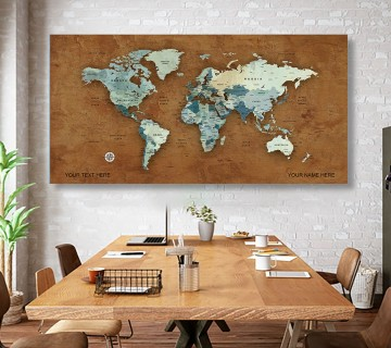 Brown Style World Map Canvas, Push Pin World Travel Map, Personalized Large World Map, DIY Push Pin Travel Map Canvas
