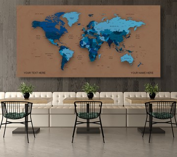Cerulean Color  World Map Canvas, Push Pin World Travel Map, Personalized Large World Map, DIY Push Pin Travel Map Canvas