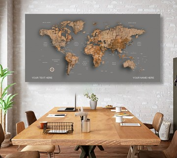 concord Wood  World Map canvas frame with multi color push pin and personalized name and text