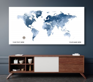 Ocean Blue Style World Map Canvas, Push Pin World Travel Map, Personalized Large World Map, DIY Push Pin Travel Map Canvas