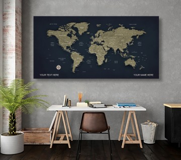 Bunker color  World Map Canvas, Push Pin World Travel Map, Personalized Large World Map, DIY Push Pin Travel Map Canvas