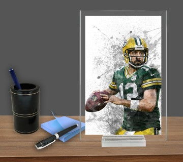 Aaron Rodgers, Acrylic Table Top , Splash Effect Prints, Sports Art Prints, Office Decor Sports Gift, Office Gift