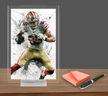 George Kittle, Acrylic Table Top , Splash Effect Prints, Sports Art Prints, Office Decor Sports Gift, Office Gift