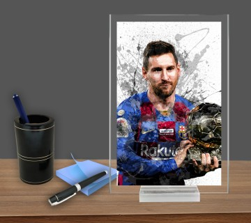 Lionel Messi, Acrylic Table Top , Splash Effect Prints, Sports Art Prints, Office Decor Sports Gift, Office Gift